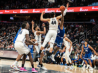 WASHINGTON, DC - FEBRUARY 05: Myles Powell #13 of Seton Hall reaches up for a shot over Omer Yurtseven #44 of Georgetown during a game between Seton Hall and Georgetown at Capital One Arena on February 05, 2020 in Washington, DC.