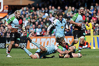 Luke Wallace of Harlequins beats Calum Clark of Northampton Saints to the loose ball during the Aviva Premiership match between Harlequins and Northampton Saints at the Twickenham Stoop on Saturday 4th May 2013 (Photo by Rob Munro)