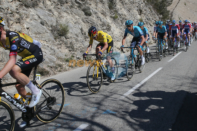 Team Jumbo-Visma with Yellow Jersey race leader Primoz Roglic (SLO) lead the peloton during Stage 7 of Paris-Nice 2021, running 119.2km from Le Broc to Valdeblore La Colmiane, France. 13th March 2021.<br /> Picture: ASO/Fabien Boukla | Cyclefile<br /> <br /> All photos usage must carry mandatory copyright credit (© Cyclefile | ASO/Fabien Boukla)