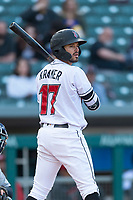 Indianapolis Indians second baseman Kevin Kramer (17) during an International League game against the Columbus Clippers on April 29, 2019 at Victory Field in Indianapolis, Indiana. Indianapolis defeated Columbus 5-3. (Zachary Lucy/Four Seam Images)