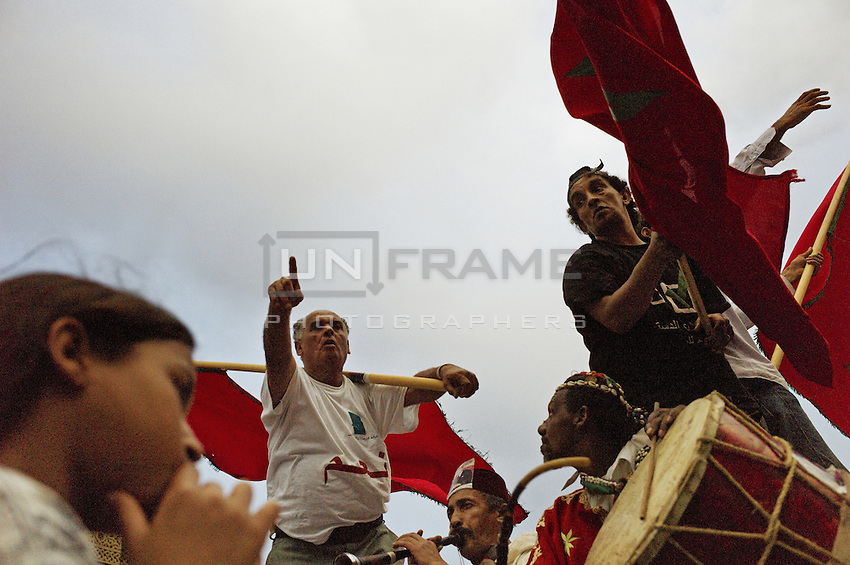 Pro governement supporters the day before the referendum in the capital of Morocco, Rabat