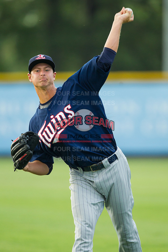 Elizabethton Twins starting pitcher Stephen Gonsalves (51) warms up in the outfield prior to the game against the Burlington Royals at Burlington Athletic Park on June 25, 2014 in Burlington, North Carolina.  The Twins defeated the Royals 8-0. (Brian Westerholt/Four Seam Images)