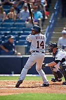Detroit Tigers shortstop Mike Aviles (14) at bat during a Spring Training game against the New York Yankees on March 2, 2016 at George M. Steinbrenner Field in Tampa, Florida.  New York defeated Detroit 10-9.  (Mike Janes/Four Seam Images)