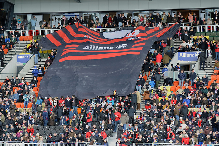 20130303 Copyright onEdition 2013©.Free for editorial use image, please credit: onEdition..Fans pass a giant Saracens shirt around the stadium during the Premiership Rugby match between Saracens and London Welsh at Allianz Park on Sunday 3rd March 2013 (Photo by Rob Munro)..For press contacts contact: Sam Feasey at brandRapport on M: +44 (0)7717 757114 E: SFeasey@brand-rapport.com..If you require a higher resolution image or you have any other onEdition photographic enquiries, please contact onEdition on 0845 900 2 900 or email info@onEdition.com.This image is copyright onEdition 2013©..This image has been supplied by onEdition and must be credited onEdition. The author is asserting his full Moral rights in relation to the publication of this image. Rights for onward transmission of any image or file is not granted or implied. Changing or deleting Copyright information is illegal as specified in the Copyright, Design and Patents Act 1988. If you are in any way unsure of your right to publish this image please contact onEdition on 0845 900 2 900 or email info@onEdition.com