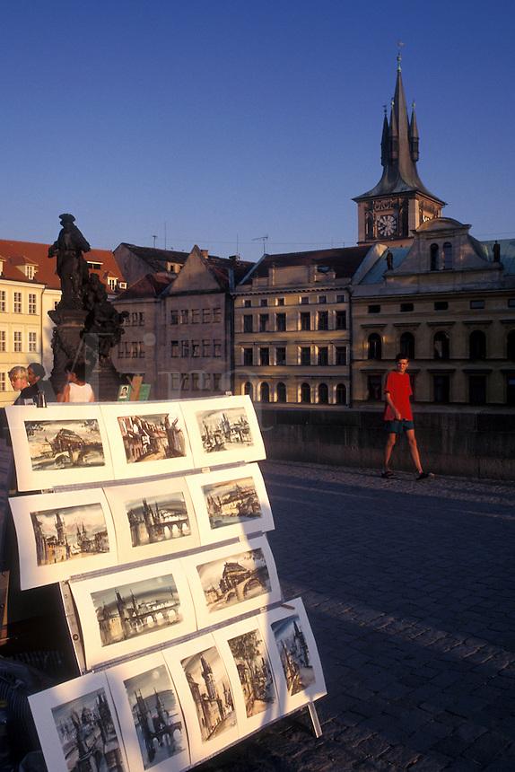Prague, Charles Bridge, Czech Republic, Praha, Central Bohemia, Artwork displayed on Charles Bridge.