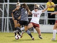 NWA Democrat-Gazette/CHARLIE KAIJO Arkansas Razorbacks defender Haley VanFossen (99) defends the ball during a soccer game, Thursday, September 27, 2018 at Razorback Field in Fayetteville.