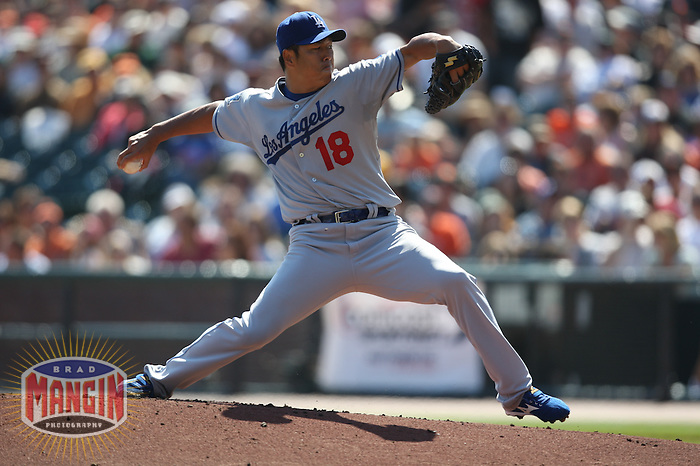 SAN FRANCISCO - SEPTEMBER 28:  Hiroki Kuroda of the Los Angeles Dodgers pitches during the game against the Los Angeles Dodgers at AT&T Park in San Francisco, California on September 28, 2008.  The Giants defeated the Dodgers 3-1.  Photo by Brad Mangin