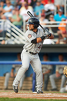 Mahoning Valley Scrappers outfielder Ka'ai Tom (40) at bat during a game against the Batavia Muckdogs on July 3, 2015 at Dwyer Stadium in Batavia, New York.  Batavia defeated Mahoning Valley 7-4.  (Mike Janes/Four Seam Images)