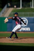 Northwest Arkansas Naturals pitcher Gerson Garabito (15) delivers a pitcher on May 4, 2019, at Arvest Ballpark in Springdale, Arkansas. (Jason Ivester/Four Seam Images)