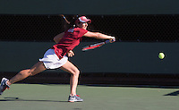 STANFORD, CA - MARCH 1, 2015--Stanford women's tennis player Lindsay Kostas, return the ball back to a  CAL Berkley player during Sunday's match at  at the Taube Family Tennis Stadium.