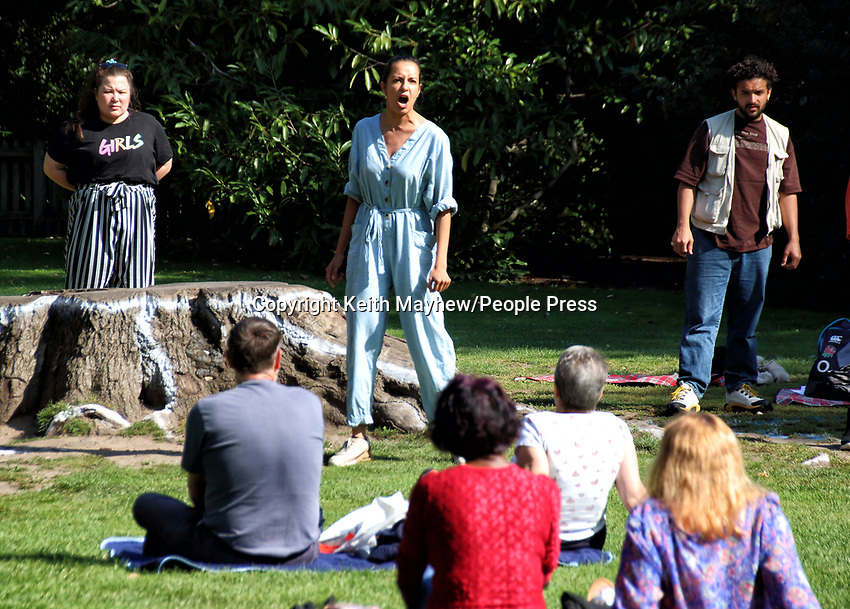 """The RSC has been running a series of free outdoor shows entitled """"Shakespeare Snapshots"""". thoughout August and September. Held in The Dell Gardens next to the RSC Theatre and performed by actors from the company who would otherwise be playing in The Winter's Tale and The Comedy of Errors.This unique programme of socially-distanced, outdoor Shakespeare, albeit without the usual trappings of lights and costume, and the full bells and whistles of a normal RSC show, has been a welcome treat for anyone who has been missing live theatre these last few months. Stratford-upon-Avon, England. Saturday September 19th 2020<br /> <br /> Photo by Keith Mayhew"""