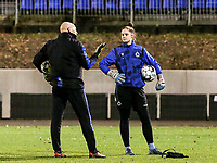 Goalkeepercoach Jurgen Belpaire of Club Brugge and goalkeeper Femke Schamp (1) of Club Brugge  pictured before a female soccer game between FC Femina White Star Woluwe and Club Brugge YLA on the eleventh matchday of the 2020 - 2021 season of Belgian Scooore Womens Super League , Friday 22 January 2021  in Woluwe , Belgium . PHOTO SPORTPIX.BE | SPP | SEVIL OKTEM