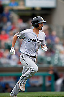 Charlotte Knights Seby Zavala (5) runs to first base during an International League game against the Rochester Red Wings on June 16, 2019 at Frontier Field in Rochester, New York.  Rochester defeated Charlotte 3-2 in the second game of a doubleheader.  (Mike Janes/Four Seam Images)