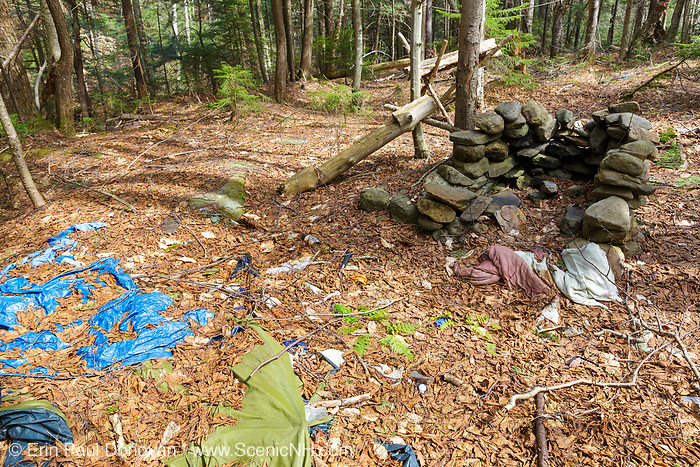 Abandoned campsite along a tributary of the Wild Ammonoosuc River, on the side of Mt. Blue, in Kinsman Notch of the White Mountains, New Hampshire USA.