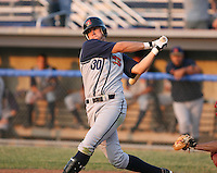 2007:  Miles Durham of the State College Spikes at bat during a game vs. the Batavia Muckdogs in New York-Penn League baseball action.  Photo By Mike Janes/Four Seam Images