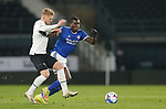 28.10.20 - Derby County v Cardiff City - Sky Bet Championship - Sheyi Ojo of Cardiff is tackled by Kamil Jozwiak of Derby
