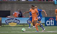 Sky Blue FC midfielder Rosana (11) attempts to control the ball as Boston Breakers forward/midfielder Kelly Smith (10) closes. Sky Blue FC defeated the Boston Breakers, 2-1, at Harvard Stadium on June 13, 2010.