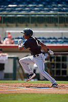 Jupiter Hammerheads shortstop Jose Devers (1) bats during a Florida State League game against the Florida Fire Frogs on April 11, 2019 at Osceola County Stadium in Kissimmee, Florida.  Jupiter defeated Florida 2-0.  (Mike Janes/Four Seam Images)