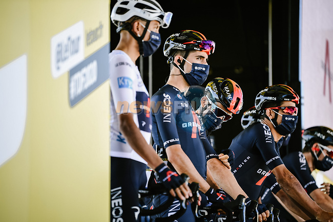 Team Ineos Grenadiers at sign on before the start of Stage 10 of Tour de France 2020, running 168.5km from Ile d'Oléron to Ile de Ré, France. 8th September 2020.<br /> Picture: ASO/Pauline Ballet | Cyclefile<br /> All photos usage must carry mandatory copyright credit (© Cyclefile | ASO/Pauline Ballet)
