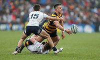 Friday 17th March 2017 | ULSTER SCHOOLS CUP FINAL<br /> <br /> James Hume gets the ball away as he is tackled by Ethan McIlroy during the Ulster Schools Cup Final between RBAI and MCB at Kingspan Stadium, Ravenhill Park, Belfast, Northern Ireland.<br /> <br /> Photograph by John Dickson | www.dicksondigital.com