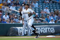 Charlotte Knights third baseman Jose Rondon (6) can't find the handle on the baseball during the game against the Buffalo Bison at BB&T BallPark on August 14, 2018 in Charlotte, North Carolina. The Bison defeated the Knights 14-5.  (Brian Westerholt/Four Seam Images)