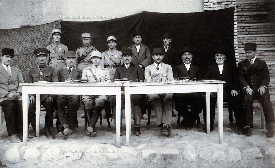 Iran 1935 .4th from right, Qazi Mohammed, director of the department of education in Mahabad with his colleagues. <br /> Iran 1935 .4eme a droite Qazi Mohammed directeur du departement de l'education a Mahabad.