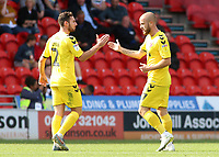 Fleetwood Town's Paddy Madden (right) celebrates scoring his side's second goal with Lewis Coyle<br /> <br /> Photographer David Shipman/CameraSport<br /> <br /> The EFL Sky Bet League One - Doncaster Rovers v Fleetwood Town - Saturday 17th August 2019  - Keepmoat Stadium - Doncaster<br /> <br /> World Copyright © 2019 CameraSport. All rights reserved. 43 Linden Ave. Countesthorpe. Leicester. England. LE8 5PG - Tel: +44 (0) 116 277 4147 - admin@camerasport.com - www.camerasport.com