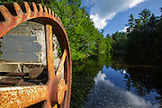 Parker's Dam along the Pemigewasset River in Woodstock, New Hampshire USA during the summer months. This is the site of a old mill dating back to the logging era