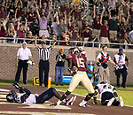Florida State wide receiver Warren Thompson celebrates an 8 yard touchdown pass to start the 2nd quarter during an NCAA college football game in Tallahassee, Fla.,Saturday, Sept. 8, 2018.  Florida State defeated Samford 36 to 26.
