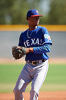 Texas Rangers Welin Liriano (20) during an Instructional League game against the Kansas City Royals on October 4, 2016 at the Surprise Stadium Complex in Surprise, Arizona.  (Mike Janes/Four Seam Images)