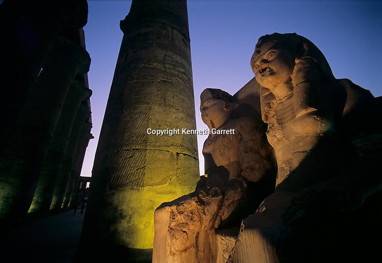 Statues of Tutankhamun and wife Ankhsenamun; Luxor Temple, Tutankhamun and the Golden Age of the Pharaohs, Page 170-171