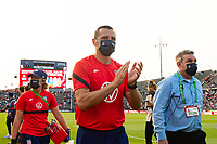 EAST HARTFORD, CT - JULY 5: Head Coach Vlatko Andonovski of the United States salutes the fans after a game between Mexico and USWNT at Rentschler Field on July 5, 2021 in East Hartford, Connecticut.