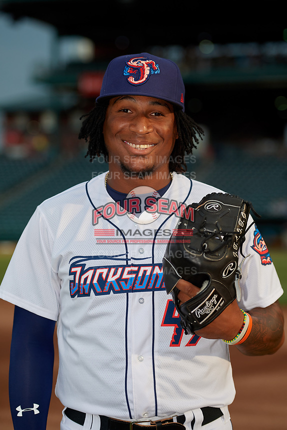 Jacksonville Jumbo Shrimp pitcher Sixto Sanchez (43) poses for a photo before a Southern League game against the Mobile BayBears on May 28, 2019 at Baseball Grounds of Jacksonville in Jacksonville, Florida.  Mobile defeated Jacksonville 2-1.  (Mike Janes/Four Seam Images)