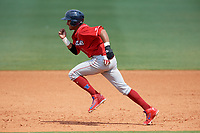 Lakewood BlueClaws second baseman Daniel Brito (21) attempts to steal second base during a game against the Greensboro Grasshoppers on June 10, 2018 at First National Bank Field in Greensboro, North Carolina.  Brito was called out due to batters interference.  Lakewood defeated Greensboro 2-0.  (Mike Janes/Four Seam Images)