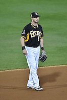 Shawn O'Malley (5) of the Salt Lake Bees on defense against the Las Vegas 51s at Smith's Ballpark on May 8, 2014 in Salt Lake City, Utah.  (Stephen Smith/Four Seam Images)