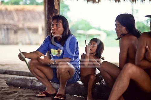 A-Ukre village, Brazil. Paulinho Payakan (Bep Koroti Kayapo), international figurehead for the Kayapo, in his village.