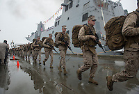 130504-N-DR144-818 ANCHORAGE, Alaska (May 4, 2013)-  Marines assigned to Task Force Denali run to bring the ship to life during the commissioning of San Antonio-class amphibious transport dock ship USS Anchorage (LPD 23) at the Port of Anchorage. More than 4,000 people gathered to witness the ship's commissioning in its namesake city of Anchorage, Alaska. Anchorage, the seventh San Antonio-class LPD, is the second ship to be named for the city and the first U.S. Navy ship to be commissioned in Alaska. (U.S. Navy photo by Mass Communication Specialist 1st Class James R. Evans / RELEASED)