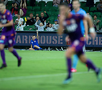 24th March 2021; HBF Park, Perth, Western Australia, Australia; A League Football, Perth Glory versus Sydney FC; Perth Glory supporters celebrate Bruno Fornaroli's goal for 1-0 in the 43rd minute