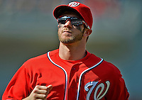 16 June 2012: Washington Nationals' outfielder Bryce Harper trots back to the dugout during a game against the New York Yankees at Nationals Park in Washington, DC. The Yankees defeated the Nationals in 14 innings by a score of 5-3, taking the second game of their 3-game series. Mandatory Credit: Ed Wolfstein Photo