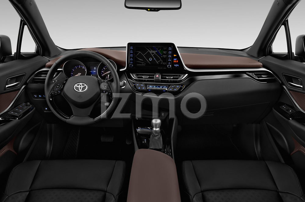 Stock photo of straight dashboard view of 2019 Toyota C-HR Limited Door SUV Dashboard