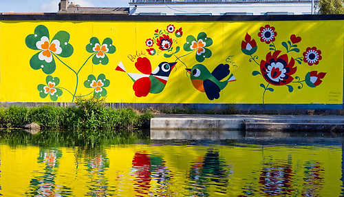The canal-side mural at Portobello in Dublin's south city centre celebrating Irish-Polish relations