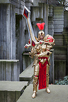 Golden Knight in Shinning Armor wth Large Sword, Emerald City Comicon 2017, Seattle, WA, USA.