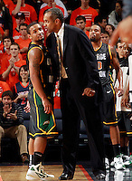 CHARLOTTESVILLE, VA- DECEMBER 6: Corey Edwards #13 of the George Mason Patriots talks with head coach Paul Hewitt of the George Mason Patriots during the game on December 6, 2011 against the Virginia Cavaliers at the John Paul Jones Arena in Charlottesville, Virginia. Virginia defeated George Mason 68-48. (Photo by Andrew Shurtleff/Getty Images) *** Local Caption *** Paul Hewitt;Corey Edwards