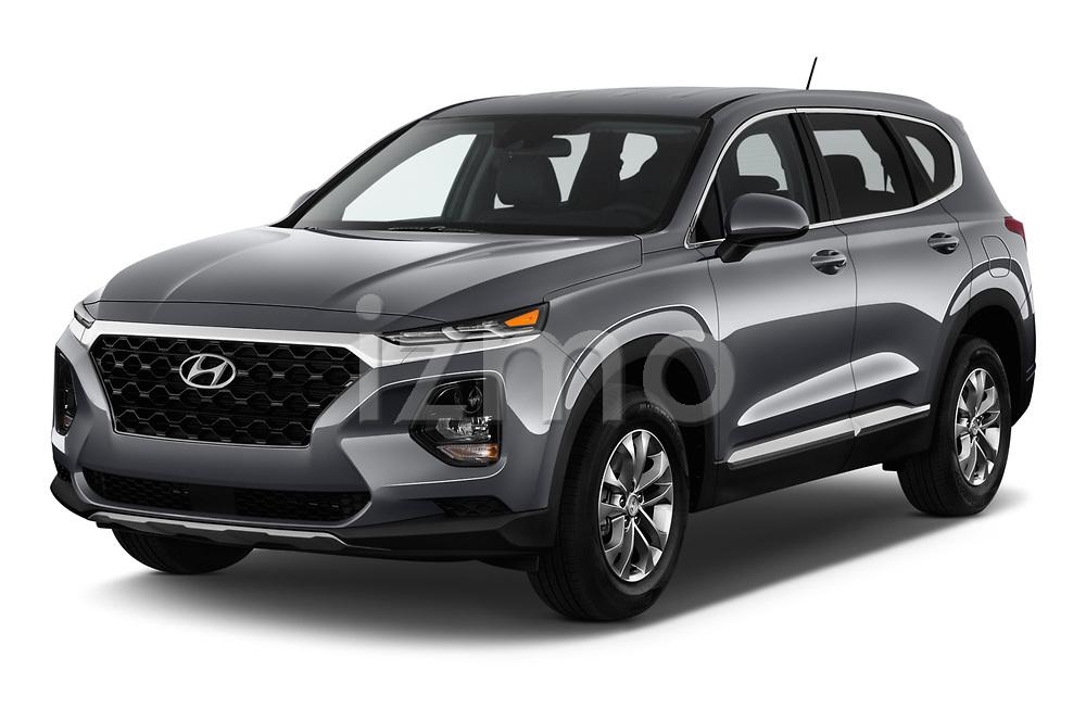 2019 Hyundai Santa FE SE 4 Door SUV angular front stock photos of front three quarter view