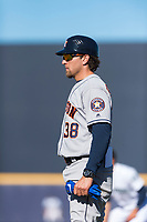 Scottsdale Scorpions hitting coach Troy Snitker (38), of the Houston Astros organization, during an Arizona Fall League game against the Peoria Javelinas at Peoria Sports Complex on October 18, 2018 in Peoria, Arizona. Scottsdale defeated Peoria 8-0. (Zachary Lucy/Four Seam Images)