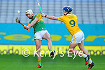 Shane Nolan, Kerry in action against Keelan Molloy, Antrim during the Joe McDonagh Cup Final match between Kerry and Antrim at Croke Park in Dublin.