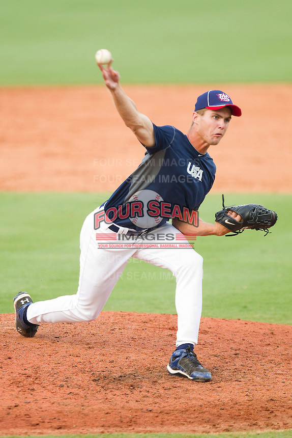 """Derek """"Bubba"""" Starling #55 of Team Blue in action against Team Red during the USA Baseball 18U National Team Trials at the USA Baseball National Training Center on June 30, 2010, in Cary, North Carolina.  Photo by Brian Westerholt / Four Seam Images"""