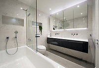 BNPS.co.uk (01202 558833)<br /> Picture: Savills/BNPS<br /> <br /> Pictured: The bathroom.<br /> <br /> HOWZAT for a view?<br /> <br /> A luxury flat that has grandstand views of Lords cricket ground has gone on the market for £2.72m.<br /> <br /> The two-bed apartment is on the 11th floor of a building next to the 'home of cricket'.<br /> <br /> From the balcony, there are uninterrupted views of the cricket pitch.