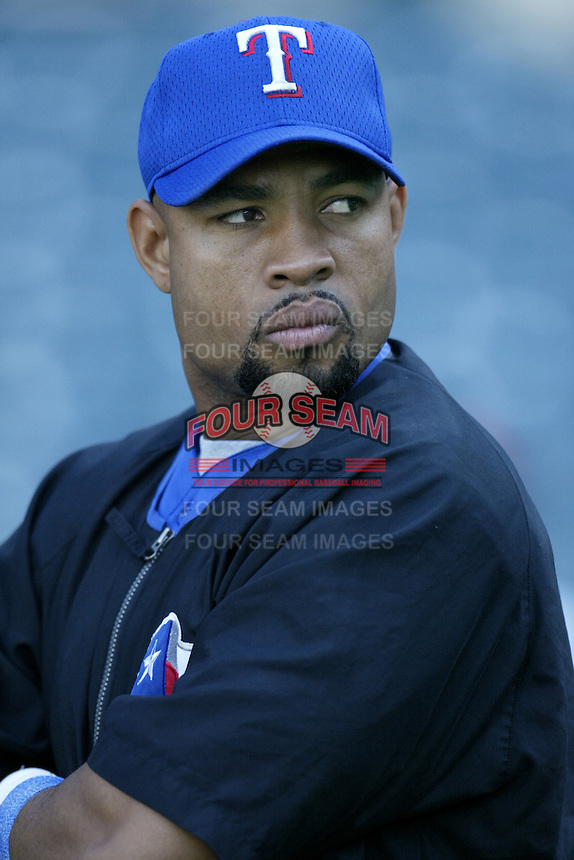 Ruben Rivera of the Texas Rangers before a 2002 MLB season game against the Los Angeles Angels at Angel Stadium, in Los Angeles, California. (Larry Goren/Four Seam Images)