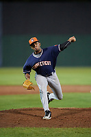 Connecticut Tigers relief pitcher Felix Viloria (40) delivers a pitch during a game against the Auburn Doubledays on August 9, 2017 at Falcon Park in Auburn, New York.  Connecticut defeated Auburn 6-4.  (Mike Janes/Four Seam Images)